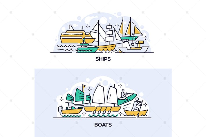 Thumbnail for Ships and boats banners set
