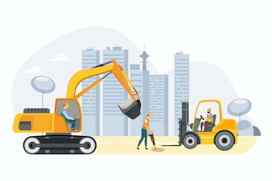 Construction of multi-story buildings flat design