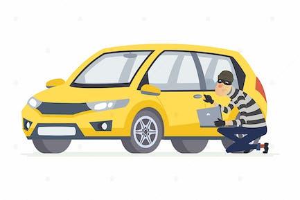 Car thief - cartoon people character illustration