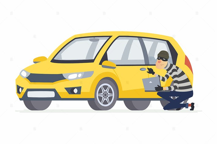 Thumbnail for Car thief - cartoon people character illustration