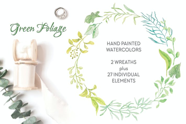 Thumbnail for Green Foliage Wreaths and Elements