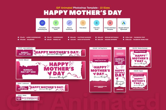 GIF Banners - Happy Mother's Day Banners Ad
