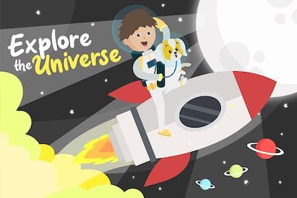 Explore Universe - Vector Illustration