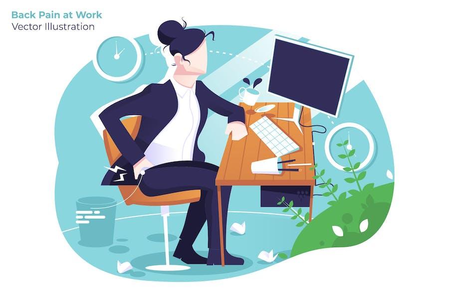 Back Pain at Work - Vector Illustration