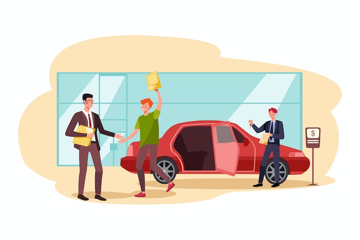 Thumbnail for Car loan approved vector illustration concept