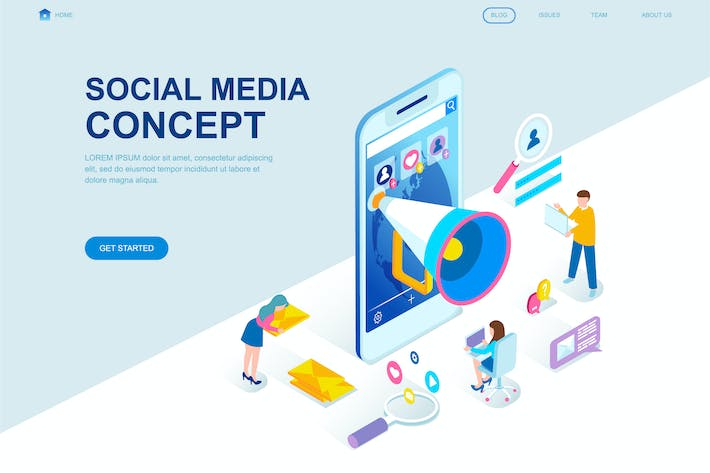 social media isometric landing page template by alexdndz on envato