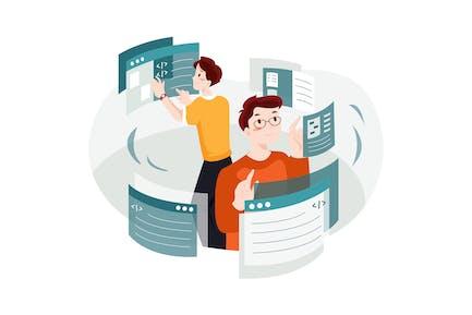 Concepto de ilustración de desarrollo web.