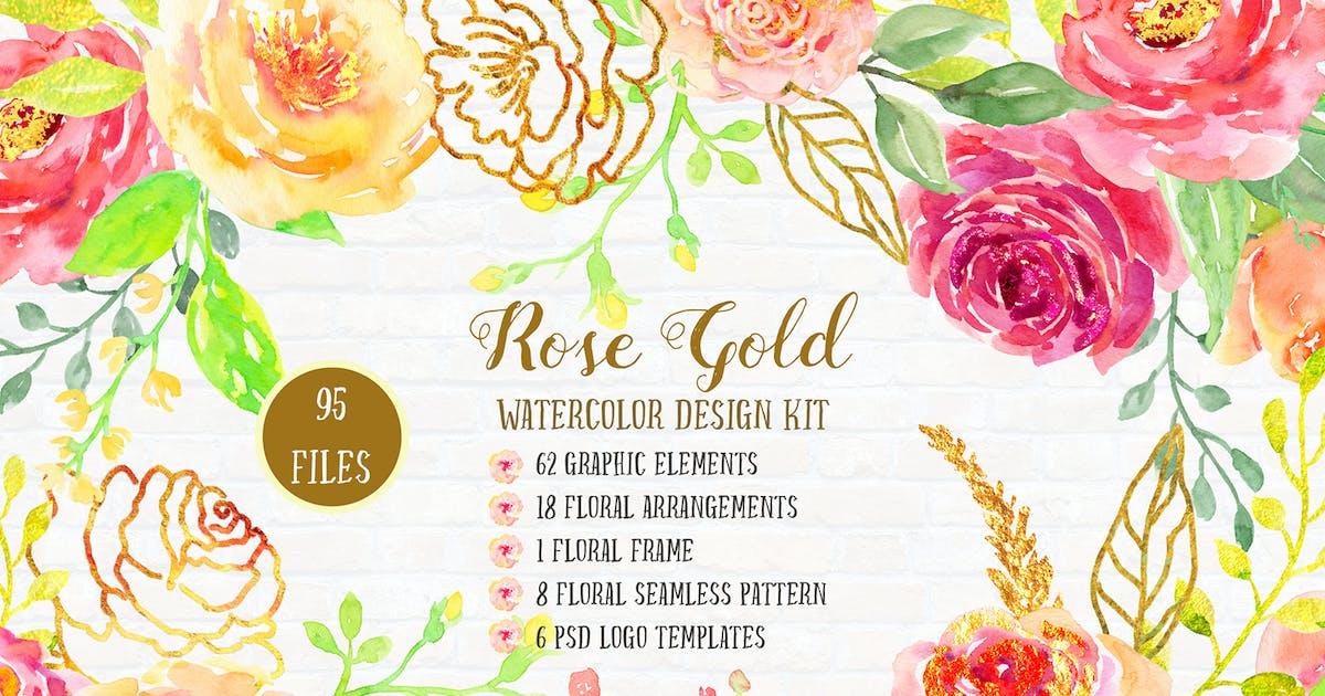 Download Watercolor Design Kit Rose Gold by cornercroft