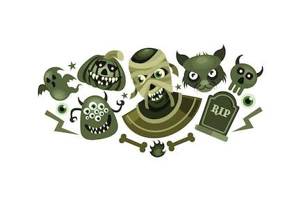 Set of Halloween Scary Vector Illustration