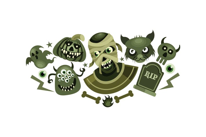 Thumbnail for Set of Halloween Scary Vector Illustration