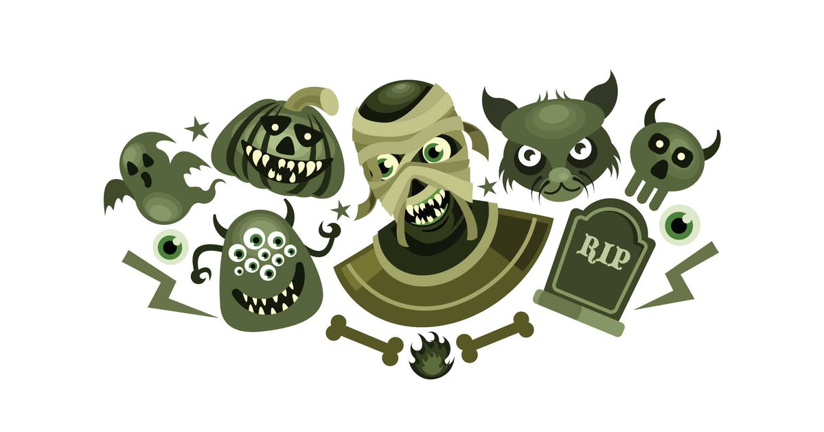 Download Set of Halloween Scary Vector Illustration by IanMikraz