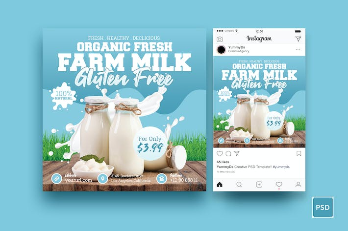 Cover Image For Farm Milk Square Flyer & Instagram Post