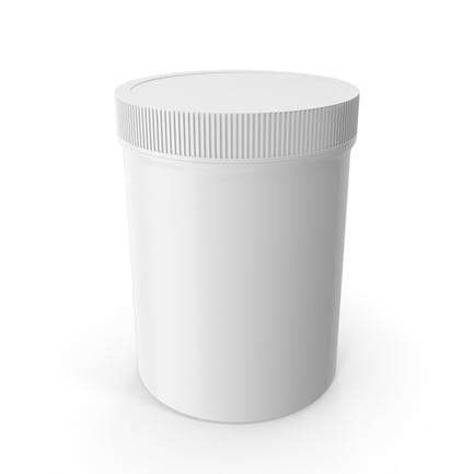 White Plastic Jar Wide Mouth Straight Sided 8oz Closed