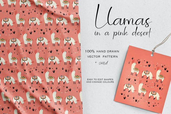 Cover Image For Llamas in a pink desert