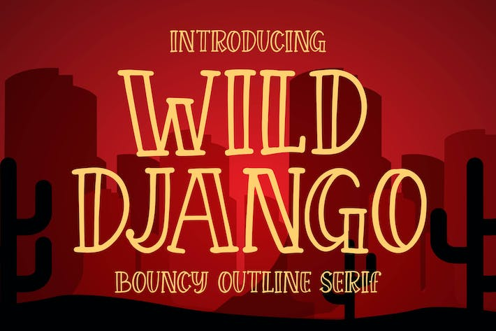 Thumbnail for Wild Django - Bouncy Outline Serif