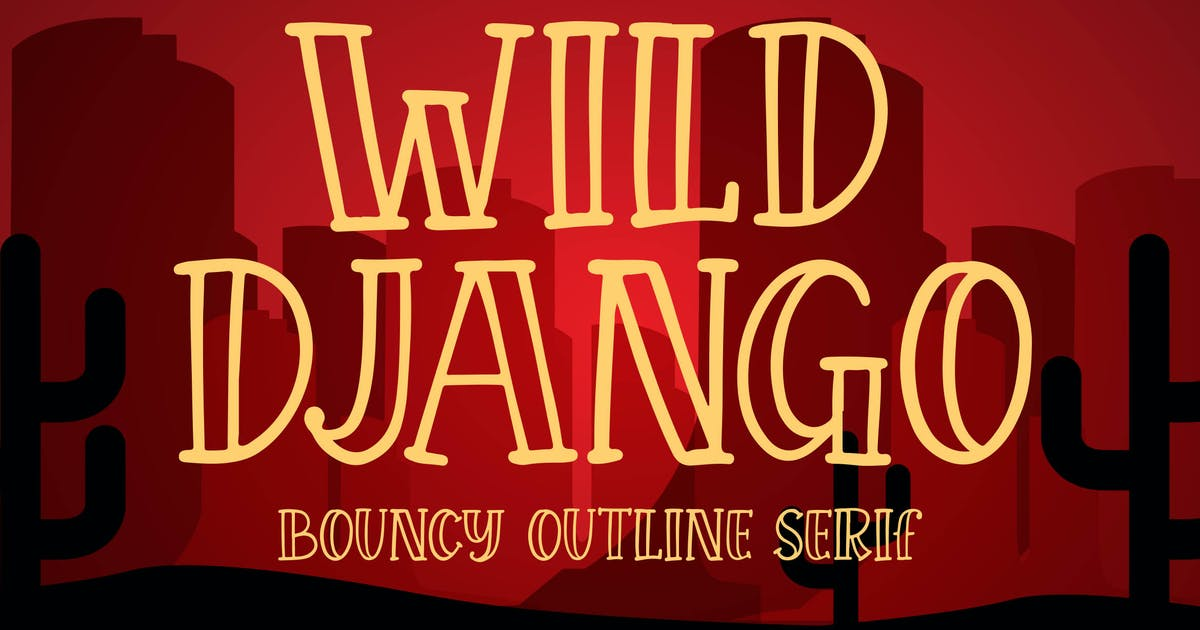 Download Wild Django - Bouncy Outline Serif by Blankids