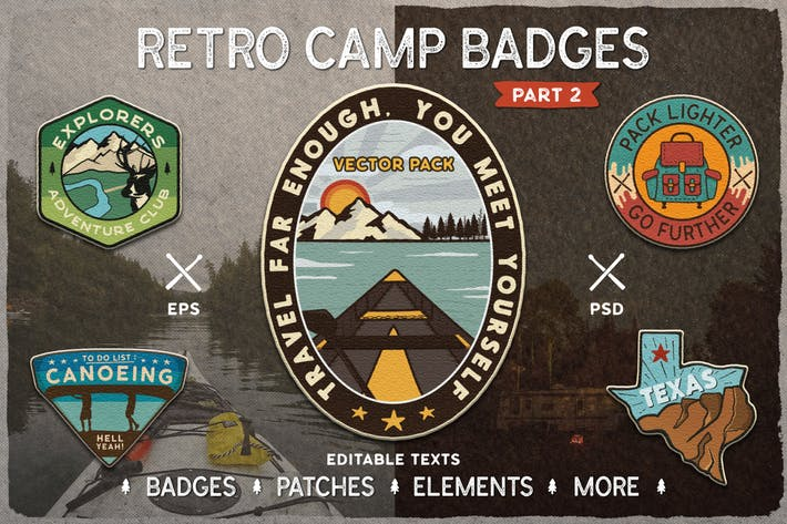 Thumbnail for Retro Camp Badges / Adventure Logo Patches. Part 2