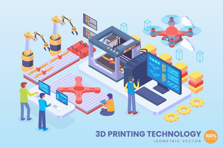 Thumbnail for Isometric 3D Printing Technology Vector Concept