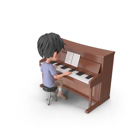 Cartoon Boy Jack Playing Piano