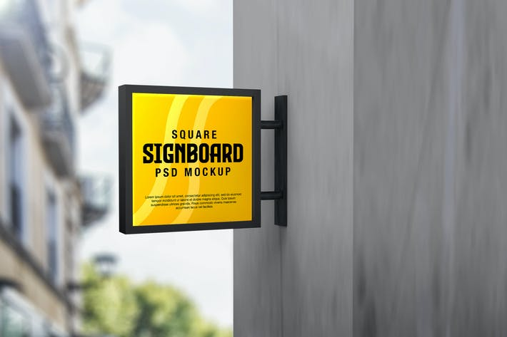 Thumbnail for Square Signboard Logo Mockup in Outdoor