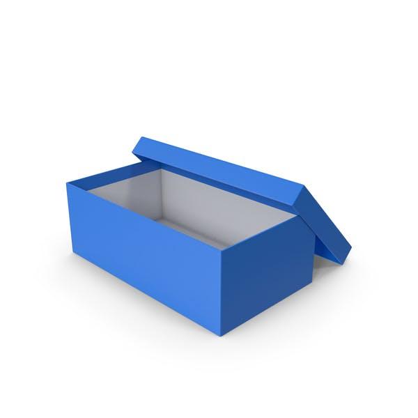 Blauer Schuhkarton geöffnet
