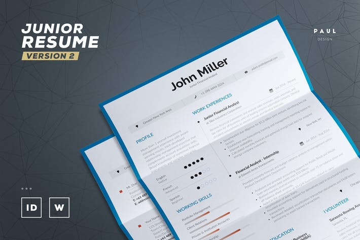 Thumbnail for Junior Resume / Cv Template v2