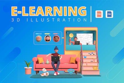 Ilustración 3D E-Learning