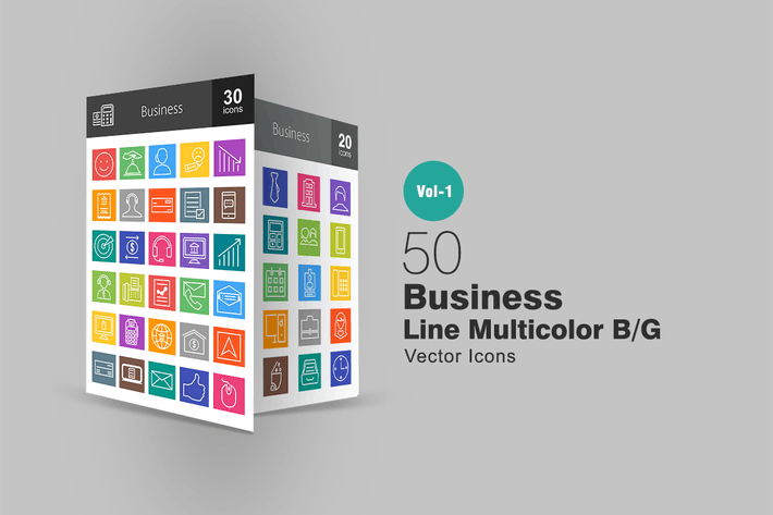 Thumbnail for 50 Business Line Multicolor Icons