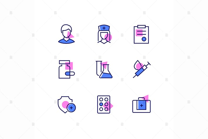 Thumbnail for Medicine and healthcare - line design style icons