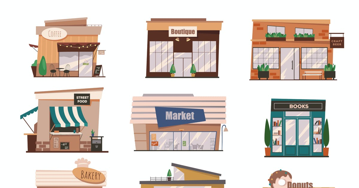Download Shops Facades Set Isolated Elements by DesignSells