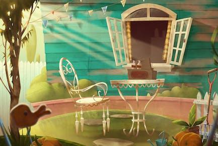 Backyard Garden Summer Illustration