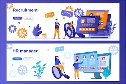 HR Management and Recruitment Web Banners