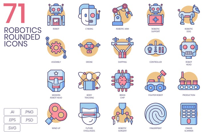 Cover Image For 71 Robotics Rounded Icons