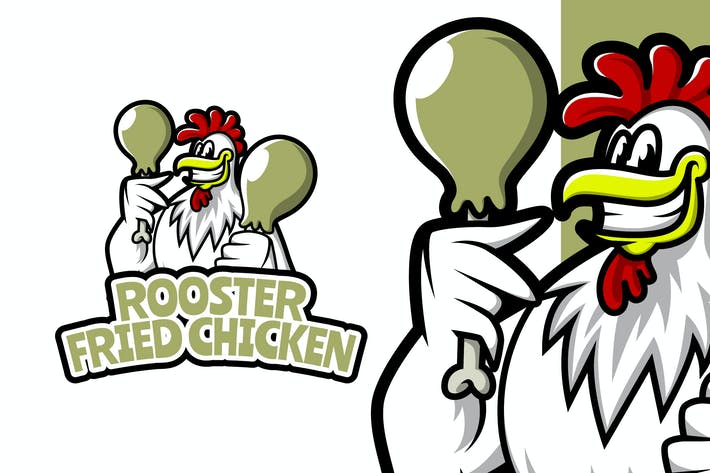 Rooster Fried Chicken - Food Mascot Logo Template