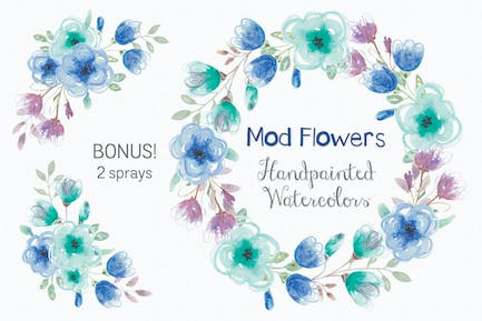 Mod Flowers: Wreath and Sprays in Shades of Blue