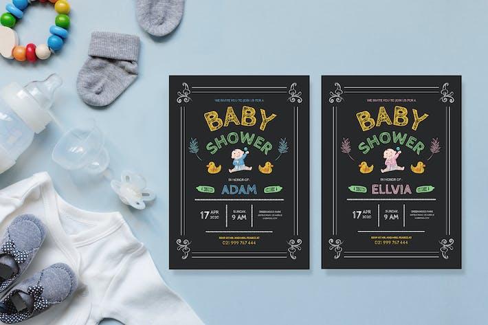 Thumbnail for Dessin au tableau noir simple - Invitation Baby Shower