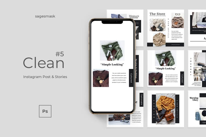 Thumbnail for Clean 5 Instagram Post & Stories