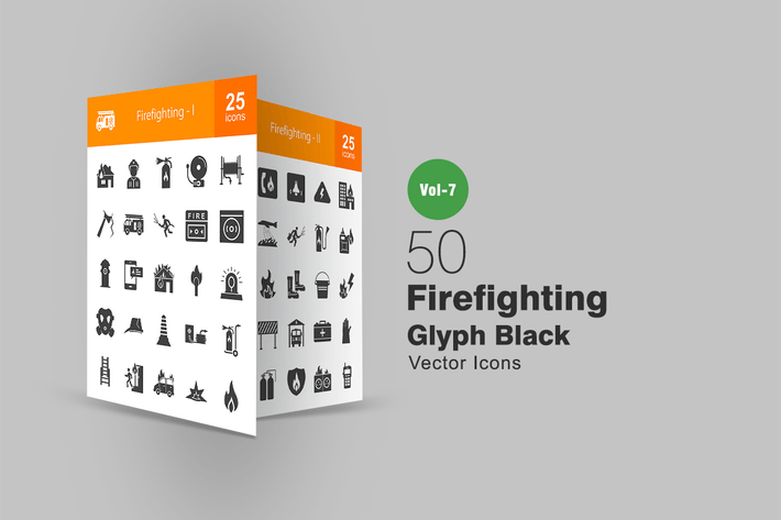 Thumbnail for 50 Firefighting Glyph Icons