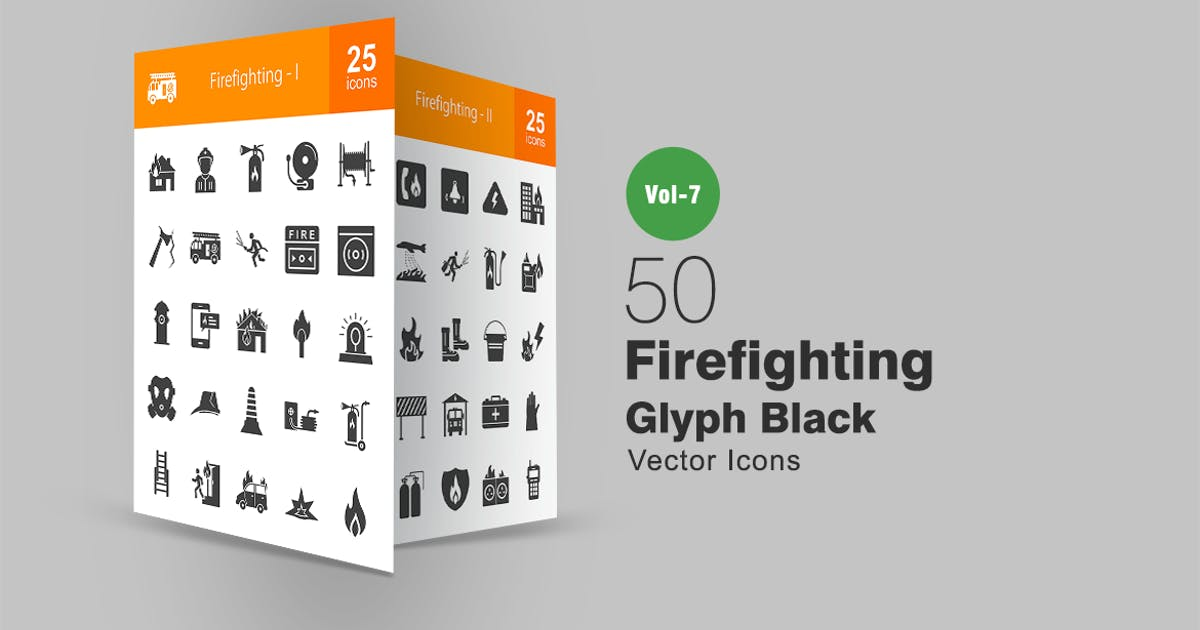 Download 50 Firefighting Glyph Icons by IconBunny