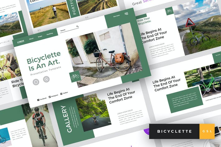 Thumbnail for Bicyclette - Bicycle Google Slides Template