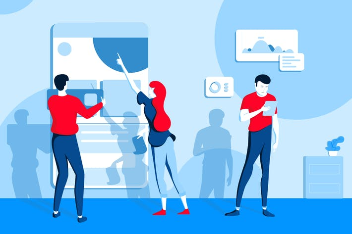 Thumbnail for Digital work modern flat illustration concept