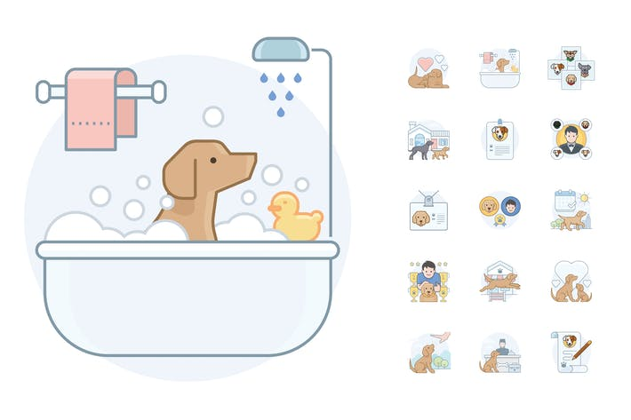 Thumbnail for 15 Dog Activity Icons