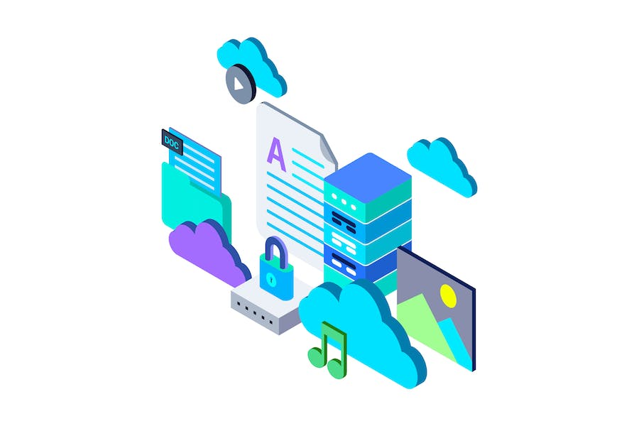 Cloud Storage Isometric Illustration