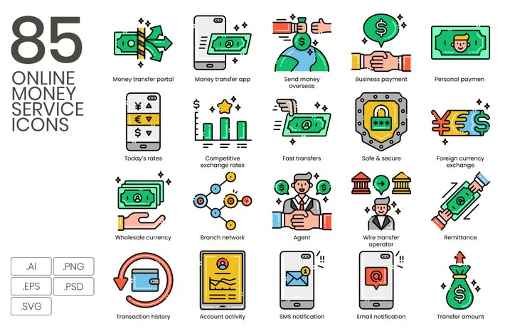 Thumbnail for 85 Online Money Services Line Icons