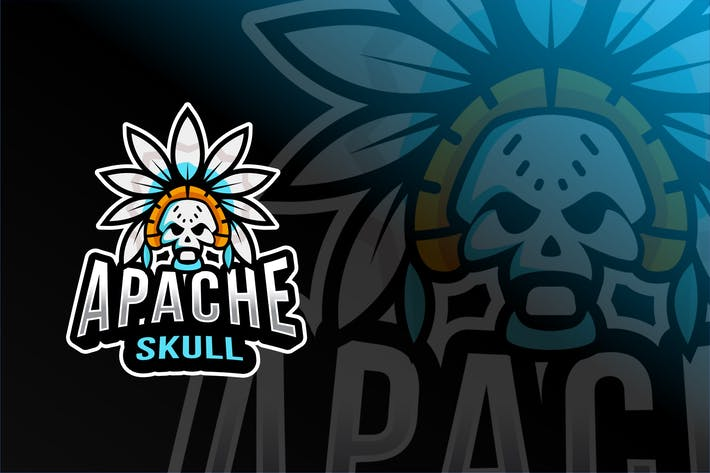 Thumbnail for Apache Skull Esport Logo Template