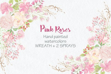 Watercolor Wreath of Pink Roses
