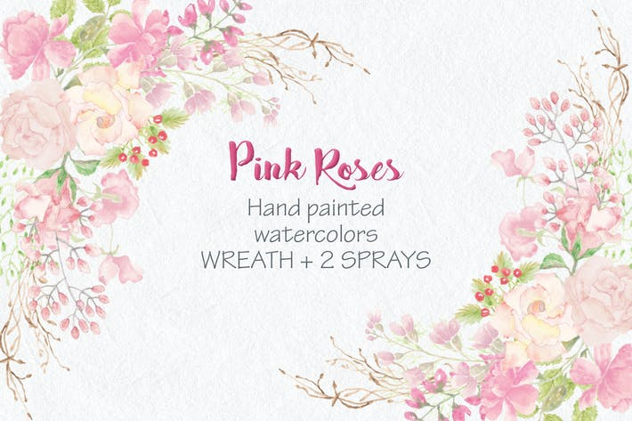 Thumbnail for Watercolor Wreath of Pink Roses