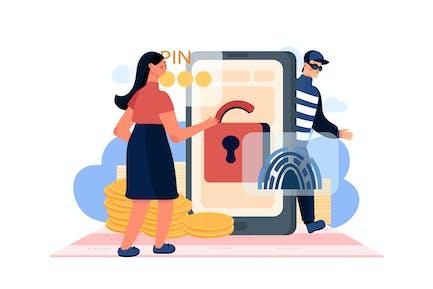 Phone Spyware Attack Illustration Concept