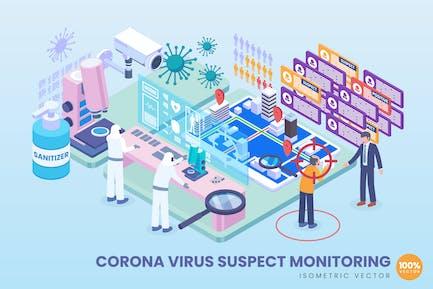 Isometric Corona Virus Suspect Monitoring Vector
