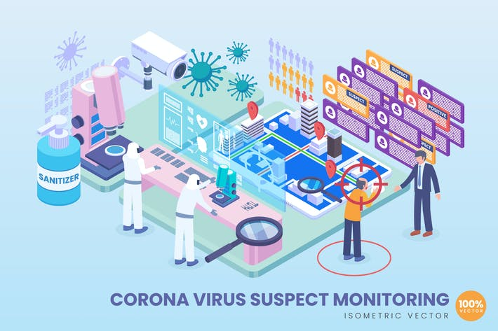 Thumbnail for Isometric Corona Virus Suspect Monitoring Vector